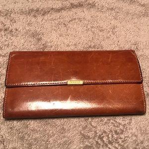 Coach Cognac Long Leather Wallet